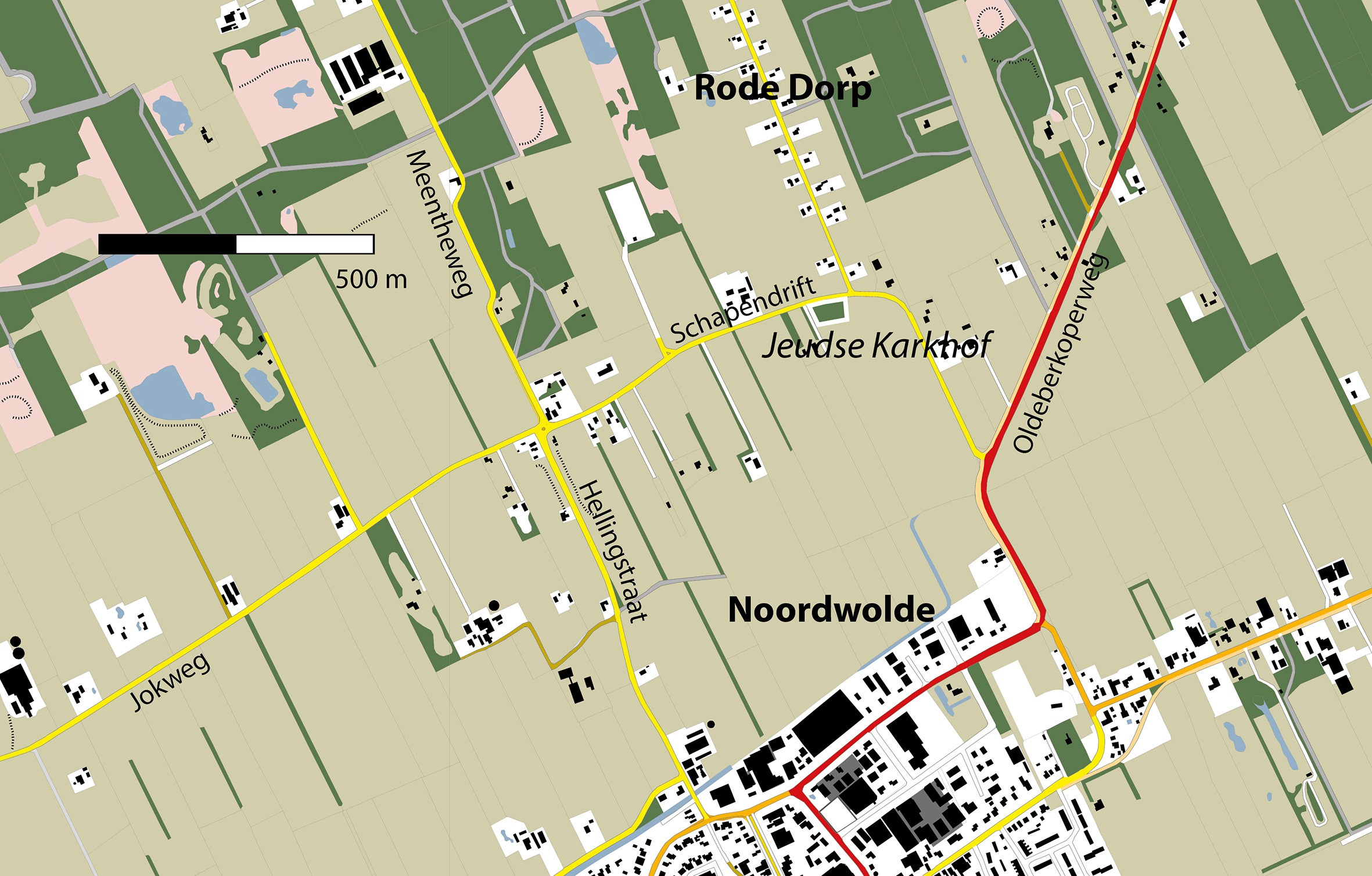 Gebiedskaart Jodekarkhof Noordwoolde