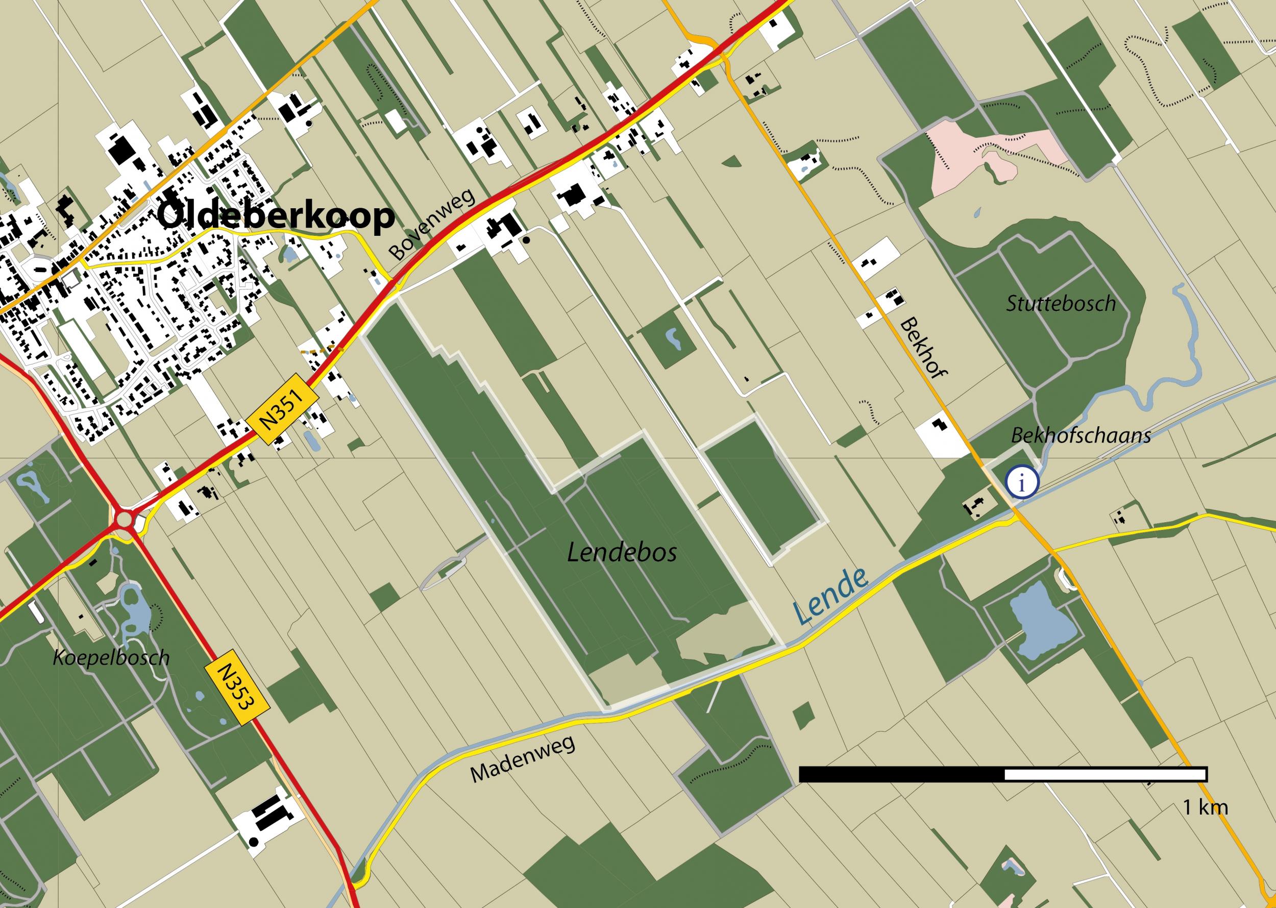 Gebiedskaart Bekhofschaans en Lendebos