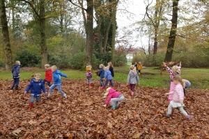 Spelen in de bladeren tijdens herfstwandeling