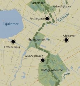 De groene lijn geeft de totale ecologische verbindingszone weer tussen de verschillende natuurgebieden. Het omcirkelde gedeelte laat de nieuw gerealiseerde doorgang tot het Easterskar zien. Dieren kunnen zich nu ook hier veilig van het ene naar het andere gebied verplaatsen.