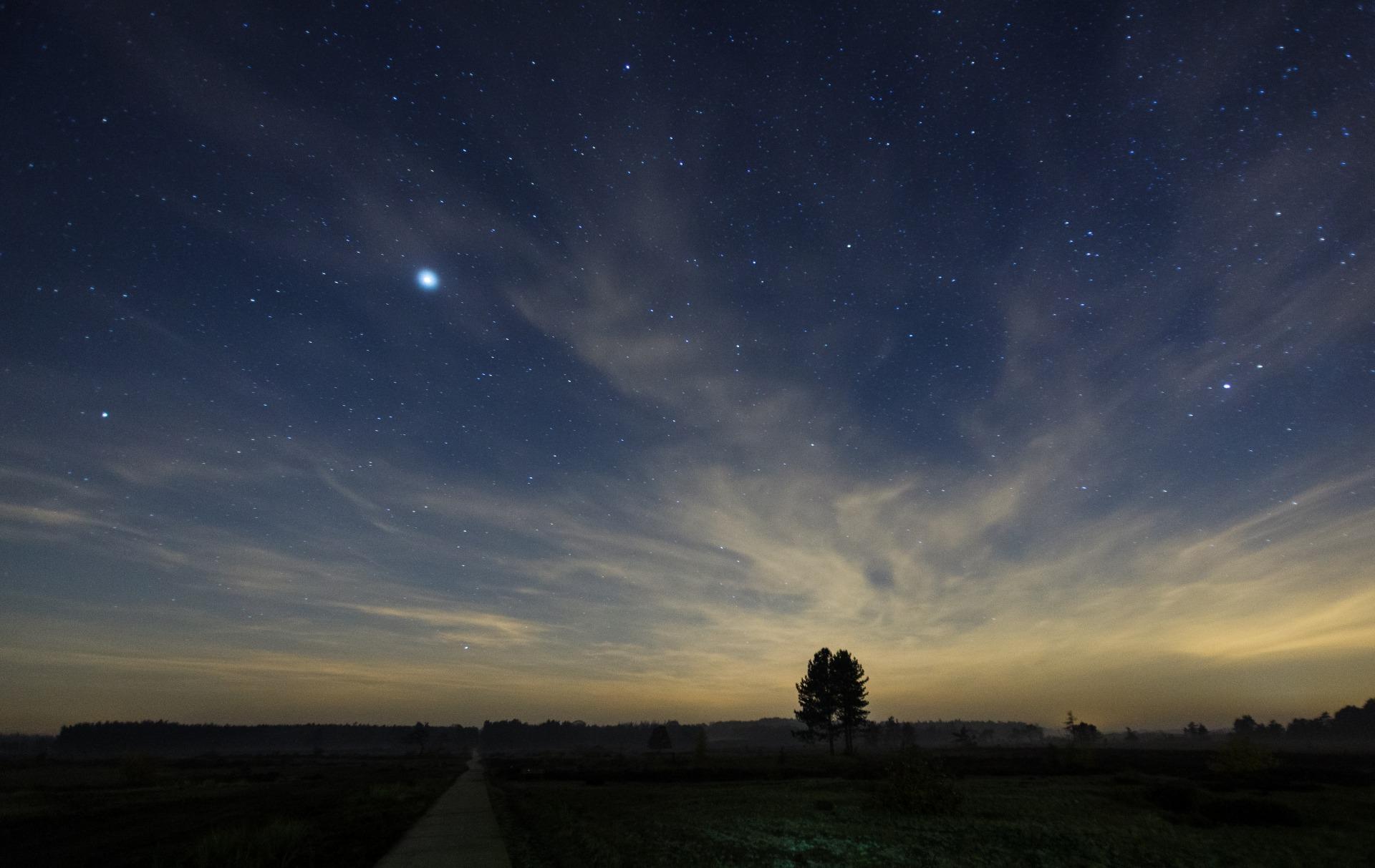 Landschap met sterrenhemel door Johan van der Wielen